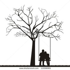 silhouettes free to print kids swing set   Black couple under tree over swing. vector illustration - Shutterstock ...
