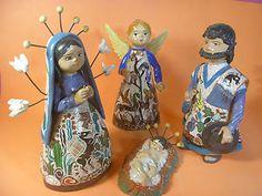 Mexican Pottery Nativity Scene Tlaquepaque Art Handpainted Lucano Petatillo   eBay