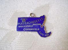 Sterling silver enamel Massachusetts charm