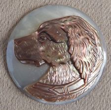 Antique French Large Carved Mother of Pearl Dog Animal Button Sewing n°2