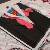 Superman tuxedo grooms sheetcake