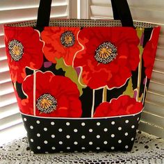 POPPIES & POLKA DOTS Tote Bag Designer Cotton by gmPurseanalities, $27.00