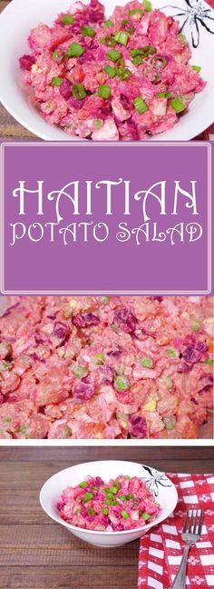 Easy recipe for Haitian potato salad. Bacon Recipes, Salad Recipes, Cooking Recipes, Donut Recipes, Cooking Time, Carribean Food, Caribbean Recipes, Caribbean Rice, Potato Salad Recipe Easy