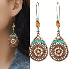 Boho High Quality 2018 New Wedding Party Jewelry Accessories Hot Sale Drop Earring Water Drop India Ethnic Hollow Out Jewelry Party, Indian Jewelry, Ethnic Jewelry, Jewellery, Boho Dress, Women's Earrings, Jewelry Accessories, Water Drip, 13 Days