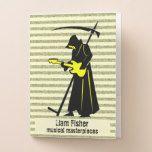 Death Metal Guitar Grim Reaper Musical Staff Pocket Folder