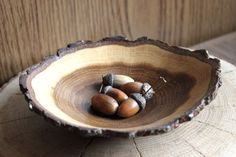 wooden bowl natural art wood slice art wooden dishes by MARKOSTYLE
