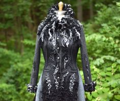 Gray black long sweater COAT boho Princess up door amberstudios