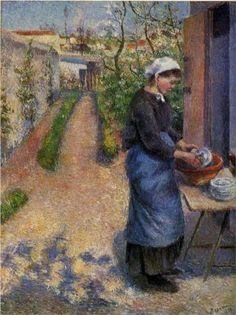 Camille Pissarro Young Woman Washing Plates Oil Painting Reproductions for sale Claude Monet, French Impressionist Painters, Impressionist Artists, Paul Cezanne, Renoir, Famous Artists, Great Artists, Camille Pissarro Paintings, Carl Spitzweg
