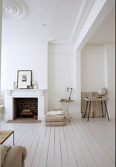white wooden floors / mantel fireplace / details / decor / scandinavian rustic vintage / decorating before and after house design room design White Rooms, White Walls, All White Room, White Bedroom, Style At Home, White Wooden Floor, Sweet Home, Wooden Flooring, Industrial Flooring
