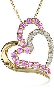 """10k Yellow Gold Pink Sapphire and Diamond Heart Pendant Necklace, 18"""" #amazoncollection #necklace See detail at http://zingxoom.com/d/cwHHJ76I"""