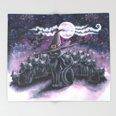 #art #illustration #artprints #givethegiftofart #gift #sales #forsale #supportartists #throwblanket #blackcats #halloween #witchinghour #familiars