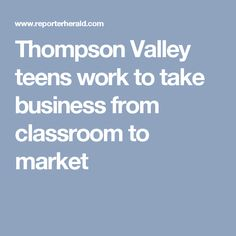 Thompson Valley teens work to take business from classroom to market