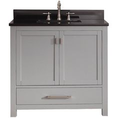 Durably crafted from solid poplar and plywood, this Avanity Modero vanity combo is a convenient option for keeping bathroom items out of sight. The top section is available in three shades of granite or marble to coordinate with your decor.