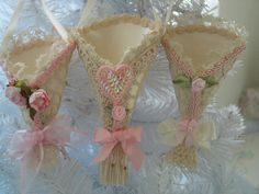 CHRISTMAS TREE ORNAMENTS Three Antique lace Cones