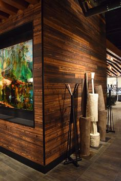 reSAWN's TORA shou sugi ban charred wood cypress interior wall cladding at Nordstrom Pacific Centre