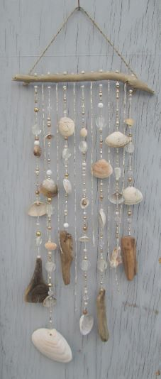 White DRIFTWOOD Mobile Windchime Suncatcher by MermaidsMasterpiece
