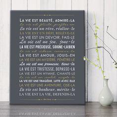 """""""La Vie"""" - Mère Teresa - selon Mes Mots Déco, bientôt en ligne! mesmotsdeco.com tableau Canvas 33*41 cm"""