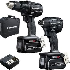 *CLICK TO ENLARGE* Panasonic EYC217 18V brushless combi drill & impact driver twin pack with 2x 5Ah batteries