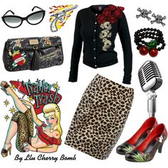 NEED THIS SWEATER! Really like the Rockabilly look. Just bought a leopard skirt, now I just need the sweater and shoes! Looks Rockabilly, Mode Rockabilly, Rockabilly Outfits, Rockabilly Fashion, 1950s Fashion, Vintage Fashion, Rockabilly Clothing, Lolita Fashion, Lady Like