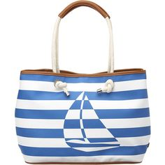 Large nautical striped tote with rope double handles and magnetic snap top closure. Inside features a coordinating striped pouch and an inside zip pocket. Measures approx L x 11 W x D. Handle drop of Nautical Looks, Nautical Style, Nautical Fashion, Staple Pieces, Bag Sale, Tote Handbags, Nine West, Purses And Bags, Pouch