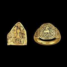 Two gold rings from Anglo-Saxon England. They belonged to King Ethelwulf of Wessex and his daughter Queen Ethelswith and date from circa AD 839-874 Image: British Museum (CC BY-NC-SA 4.0)