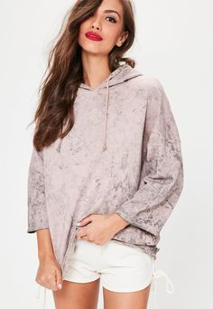 Missguided - Nude Oversized Washed Pocket Detail Hoodie