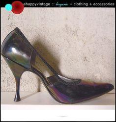 Vintage 1950s Shoes Iridescent Purple Blue Heels Pumps by ehappy, $45.00