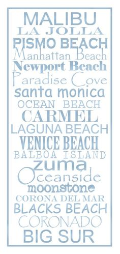 Subway Art Sign California Beaches Typography Print by PaperBleu