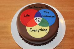 For my husbands 42nd birthday - hes a big fan of The Hitchhikers Guide to the Galaxy. I found this Venn diagram on the GraphJam website a long time ago, and it was perfect for this cake!