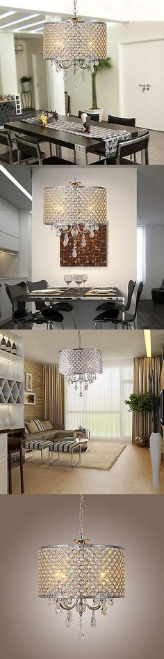 Chandeliers and Ceiling Fixtures 117503: Metal Crystal Chandelier Light Fixture Drum Lamp Shade Pendant Ceiling Lighting -> BUY IT NOW ONLY: $68.99 on eBay!