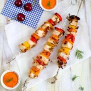 Grilled Chicken Kebabs with Roasted Pepper Dip