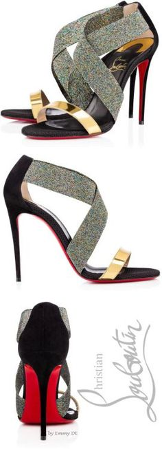 Christian Louboutin ~ 'Elastagram' 100mm Fall Multi Leather Sandal 2015