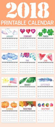 2018 Calendars, 2018 Printable Calendars, 2018 Calendar, Organizing Tips, 2018 Inspiration, Organization Ideas, Motivational Tips, Calendar Printables