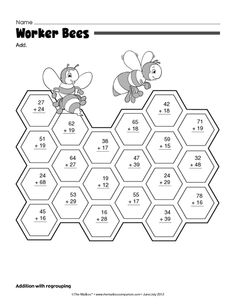Math Worksheet: two digit addition with regrouping Math For Kids, Fun Math, Math Activities, Grade 5 Math Worksheets, 1st Grade Math, Math Drills, Math Sheets, Math Help, Math Practices