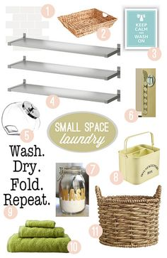 Small laundry room organization tips. Small Laundry Space, Tiny Laundry Rooms, Small Spaces, Pantry Laundry Room, Laundry Room Organization, Laundry Area, Laundry Decor, Laundry Room Inspiration, Home Decor Inspiration