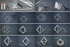 DIY with straws:Working Space Ideas Geometric Origami, Geometric Decor, Geometric Designs, Straw Crafts, Cardboard Crafts, Diy Clay, Diy Arts And Crafts, Diy Projects To Try, Christmas Crafts