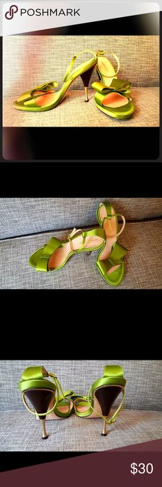 BCBGMaxAzria Green Bow Ankle Strap Heels Beautiful green color statement shoes. Comfortable 4 inch heel, with an ankle strap. Vibrant jade color with a muted satin material. Worn once to an evening event. Perfect condition. Size 8 1/2. Made in Italy. BCBGMaxAzria Shoes Heels