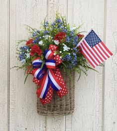 Patriotic Wreath Patriotic Decor Patriotic basket wreath of July Door Hanger Patriotic Door Hanger Memorial day Labor day Americana, Fourth Of July Decor, 4th Of July Decorations, 4th Of July Party, 4th Of July Wreath, July 4th, Patriotic Wreath, Patriotic Crafts, Diy Wreath, Wreath Ideas