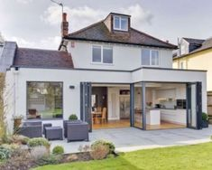Grey Frames and Tope/Cream rendering finish 1930s House Extension, House Extension Plans, House Extension Design, Rear Extension, House Design, Extension Ideas, Design Design, Bungalow Extensions, Garden Room Extensions