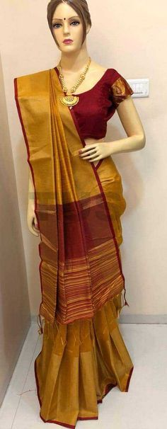 Ananta at ₹1312. (PID: 102658) *NOW LOADED WITH FULL STOCK* Soft Khadi Cotton Silk Saree With Contrast Pallu With Royal Tassels n Contrast Plain Blouse With Zari Weaving Border