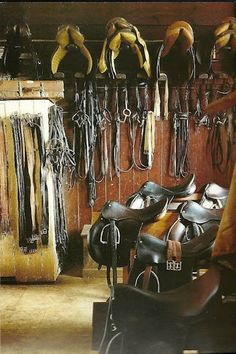 One of the BEST smells in the world is a tack room.. just need to add some western saddles in there along with the english :)