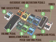 How to Set Up Guitar Pedals. Guitar pedals, sometimes called effects pedals, provide an easy and effective way to modulate your electric guitar's tone. The order of your pedals well ensure the best tone, but what tone that is depends on. Guitar Pedal Board, Diy Guitar Pedal, Guitar Rig, Music Guitar, Guitar Players, Bass Guitars, Playing Guitar, Gibson Guitars, Guitar Tabs