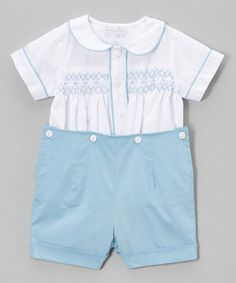 1e879ebf61a Fantaisie Kids White   Blue Smocked Button-Up   Shorts - Infant