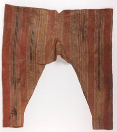 Striped  Egyptian trousers in the Brussels Royal Museum of Art and History, dating from 1200-1400 C.E.