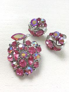 1a6cf4f8396 Vintage Signed Lisner Pink Aurora Borealis Rhinestones AB Apple Pin Brooch  + Earrings Set #earringset