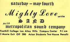 Sand and the Metropolitan Sound Company at the Campus Center, Foothill College in Los Altos Hills, CA.