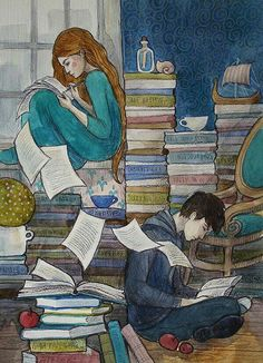 Reading together and sharing books. I Love Books, Good Books, Books To Read, My Books, Art And Illustration, Illustrations, Reading Art, World Of Books, Book Nerd