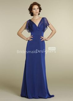 MOB or bridesmaid dress?   royal blue bridesmaid dress a line long formal dress with v neckline front and back
