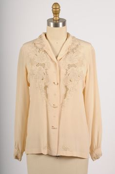 vintage 1970s hand embroidered silk blouse  by shopKLAD on Etsy