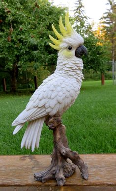 Includes one Cockatoo bird figurine. Excellent for your tropical decor. Tropical Birds, Exotic Birds, Colorful Birds, Colorful Animals, Fruit Animals, Pebble Painting, Pebble Art, Stone Painting, How To Attract Birds